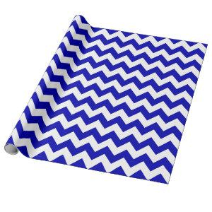 Royal Blue and White Large Chevron Wrapping Paper