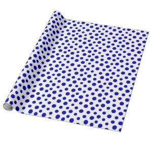 Royal Blue Dots on White Wrapping Paper