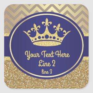 Royal Blue Gold Prince King Label Sticker