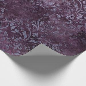 Royal Damask Grunge Purple Plum Floral Gray Blue Wrapping Paper