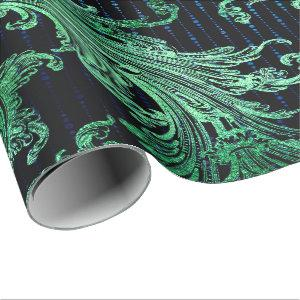 Royal Damask Metallic Floral Drops Emerald Blue Wrapping Paper
