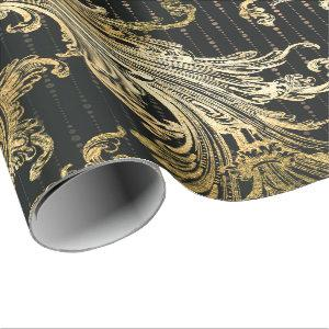 Royal Damask Sepia Faux  Gold Floral Black Drops Wrapping Paper