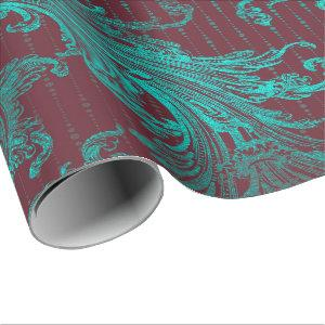Royal Damask Turquoise Blue Floral Drops Burgundy Wrapping Paper