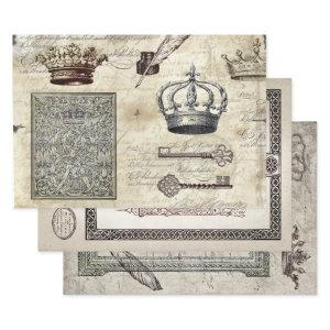 ROYAL DECREE EPHEMERA HEAVY WEIGHT DECOUAPAGE WRAPPING PAPER SHEETS