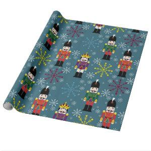 Royal Nutcracker Gift Wrap, Blue Wrapping Paper