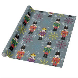 Royal Nutcracker Gift Wrap, Gray Wrapping Paper