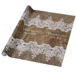Royal Personalized Rustic Lace Wrapping Paper