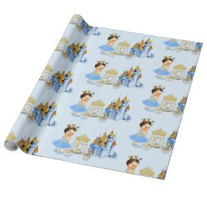 Royal Princess Castle Carriage Blue Gold Girl Wrapping Paper