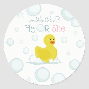 Rubber Duck Waddle It Be Baby Gender Reveal Classic Round Sticker
