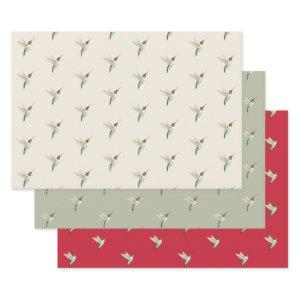 Ruby-throated Hummingbird Pattern Wrapping Paper Sheets