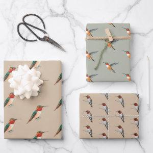 Rufous Hummingbirds Pattern Wrapping Paper Sheets