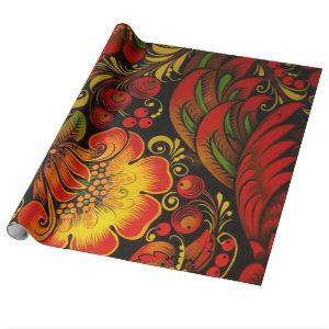Russian Vintage Fine Khokhloma Floral Pattern Wrapping Paper