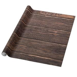 Rustic Aged Wood Planks Wrapping Paper
