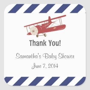 Rustic Airplane Thank You Stickers