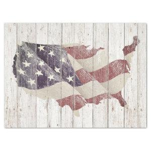 RUSTIC AMERICAN FLAG ON OLD WOOD TISSUE PAPER