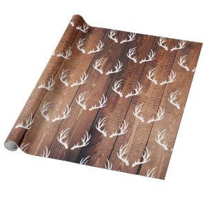 Rustic Barn Wood Planks & White Deer Antlers Wrapping Paper