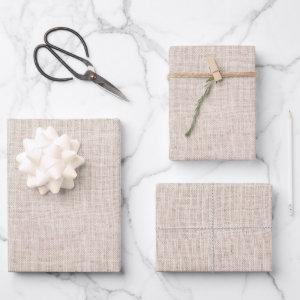Rustic Beige Faux Burlap Texture Wrapping Paper Sheets