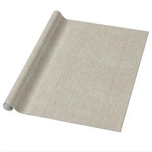 Rustic Beige Linen Printed Wrapping Paper