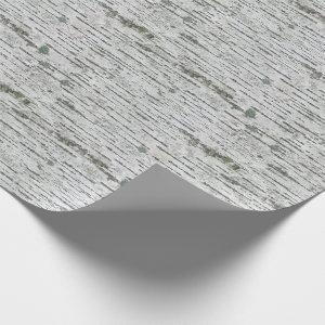 Rustic Birch Wood White Gray Texture Wrapping Paper
