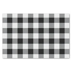 Rustic Black and White Buffalo Check Plaid Pattern Tissue Paper