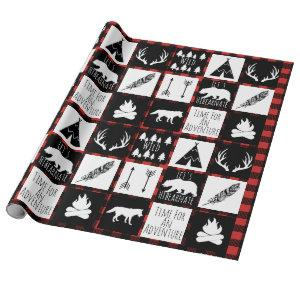 Rustic Black Buffalo Plaid Wilderness Adventure Wrapping Paper