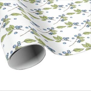 Rustic Blueberries Wrapping Paper