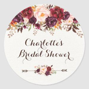 Rustic Boho Floral Bridal Shower Favor Sticker Tag