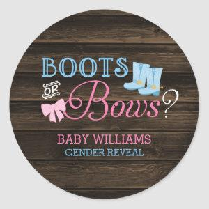 Rustic Boots or Bows Gender Reveal Baby Shower Classic Round Sticker