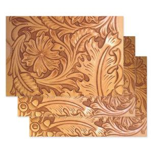 Rustic brown cowboy fashion western leather wrapping paper sheets