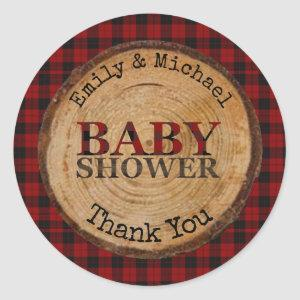 Rustic Buffalo Plaid Baby Shower Personalized Classic Round Sticker