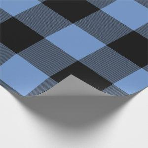 Rustic Buffalo Plaid Blue Black Wrapping Paper