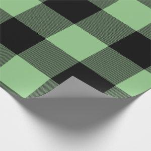 Rustic Buffalo Plaid Green Black Wrapping Paper