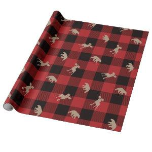 Rustic Buffalo Plaid Lumberjack Birthday Theme Wrapping Paper