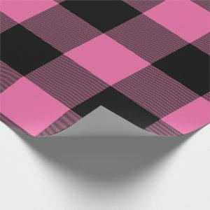 Rustic Buffalo Plaid Pink Black Wrapping Paper