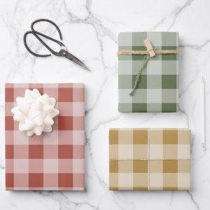 Rustic Buffalo Plaid - Simple Red Green Gold Wrapping Paper Sheets