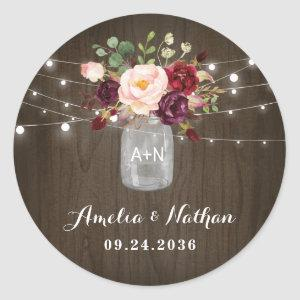 Rustic Burgundy Blush Floral Mason Jar Wedding Classic Round Sticker
