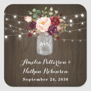 Rustic Burgundy Blush Floral Mason Jar Wedding Square Sticker
