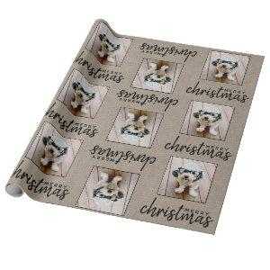 Rustic Burlap with one square photo Wrapping Paper