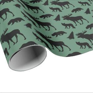Rustic Cabin Woodland Pattern Wrapping Paper
