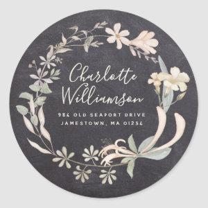 Rustic Chalkboard Floral Return Address Labels
