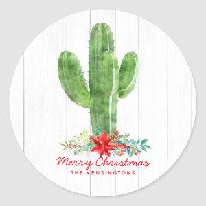Rustic Christmas Cactus White Wood Holiday Classic Round Sticker