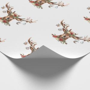 Rustic Christmas Reindeer Antler Ornaments Wrapping Paper
