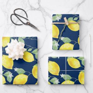 Rustic Country Lemons & Navy Blue Wrapping Paper Sheets