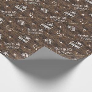 Rustic Cute #Camera Icon Twinkle Lights Lighten Up Wrapping Paper