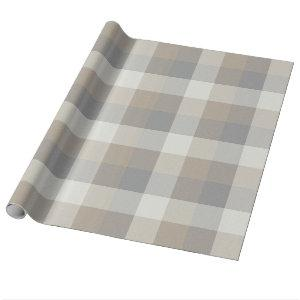 Rustic Farmhouse Plaid Tan Gray Ivory Wrapping Paper