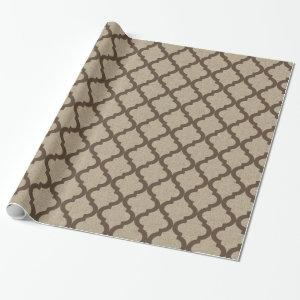 Rustic Faux Burlap and Brown Moroccan Quatrefoil Wrapping Paper