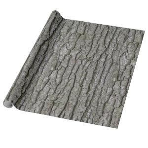 Rustic Faux Dry Wood Grain Tree Bark Wrapping Paper