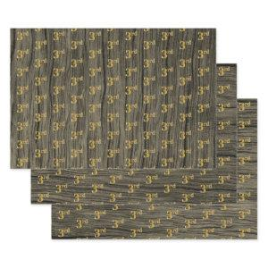 """Rustic Faux Wood Grain, Elegant Faux Gold """"3rd"""" Wrapping Paper Sheets"""