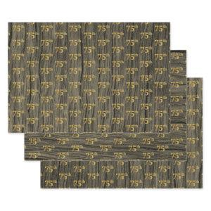 "Rustic Faux Wood Grain, Elegant Faux Gold ""75th"" Wrapping Paper Sheets"