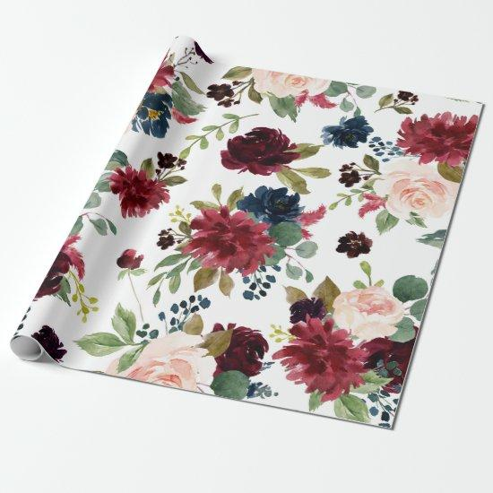 Rustic Floral   Navy Blue Burgundy Red Pattern Wrapping Paper